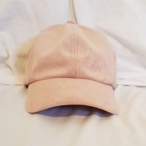 Accessories - Suede Pink Baseball Cap w/ Lace Back